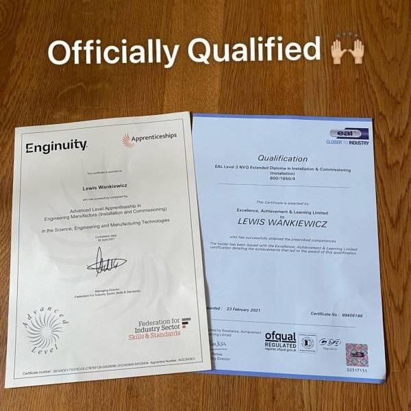 TLJ apprentice qualifies at NVQ Level 3